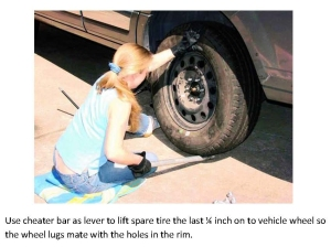 Cheater bar as lever to lift spare tire