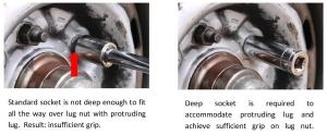 Standard socket  not deep enough for protruding lug